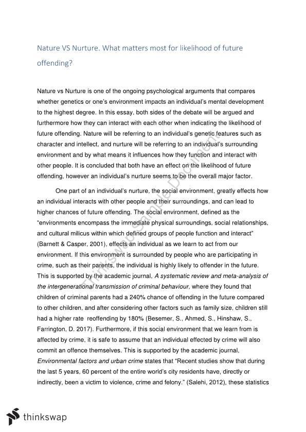 Nurture vs nature essay