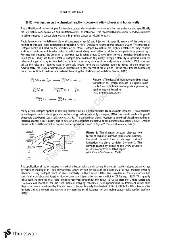 Chemistry SHE task on radio-isotope interactions with human