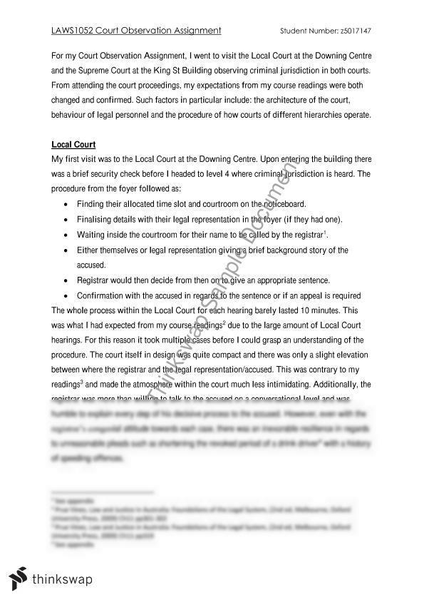Courtroom observation essay