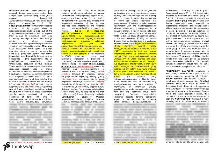 MKTG202 Exam Cheat Sheet | MKTG202 - Marketing Research | Thinkswap