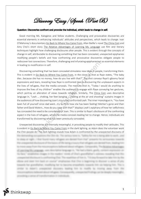 Abraham Lincoln Essay Paper Discovery Speech Sample Synthesis Essays also Research Paper Vs Essay Discovery Speech  Year  Hsc  English As A Second Language  Best English Essay