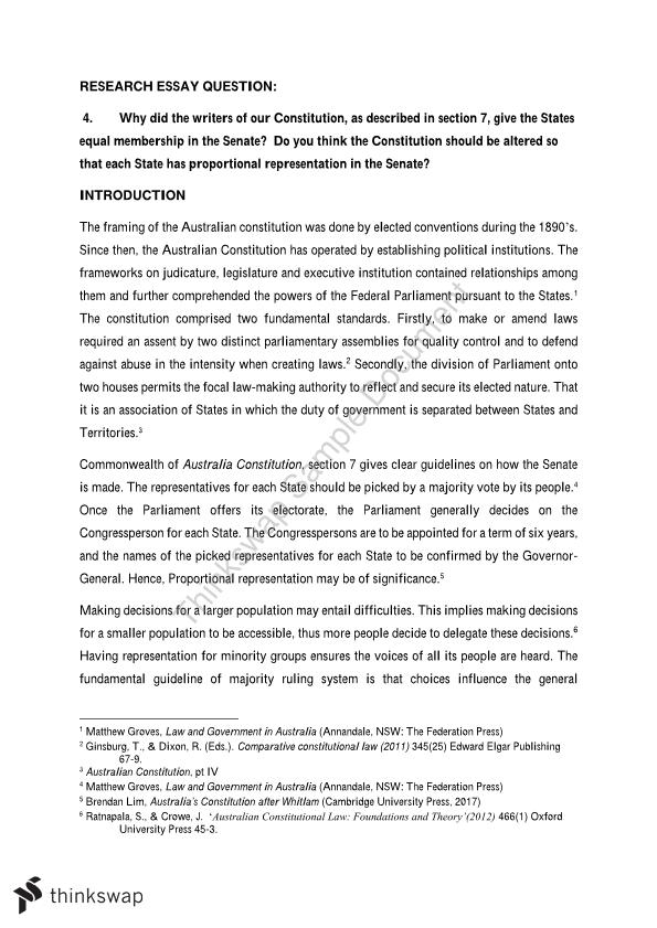 Essay For Students Of High School Research Essay Yellow Wallpaper Essays also Compare And Contrast Essay Topics For High School Research Essay  Llb  Constitutional Law  Thinkswap English Essays