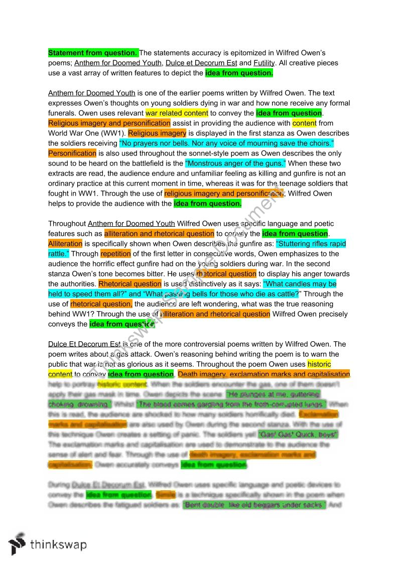 Wilfred Owen Essay No Conclusion  Year  Hsc  English Standard  Wilfred Owen Essay No Conclusion Essay On English Teacher also Sample Essay Topics For High School  English Essay Sample