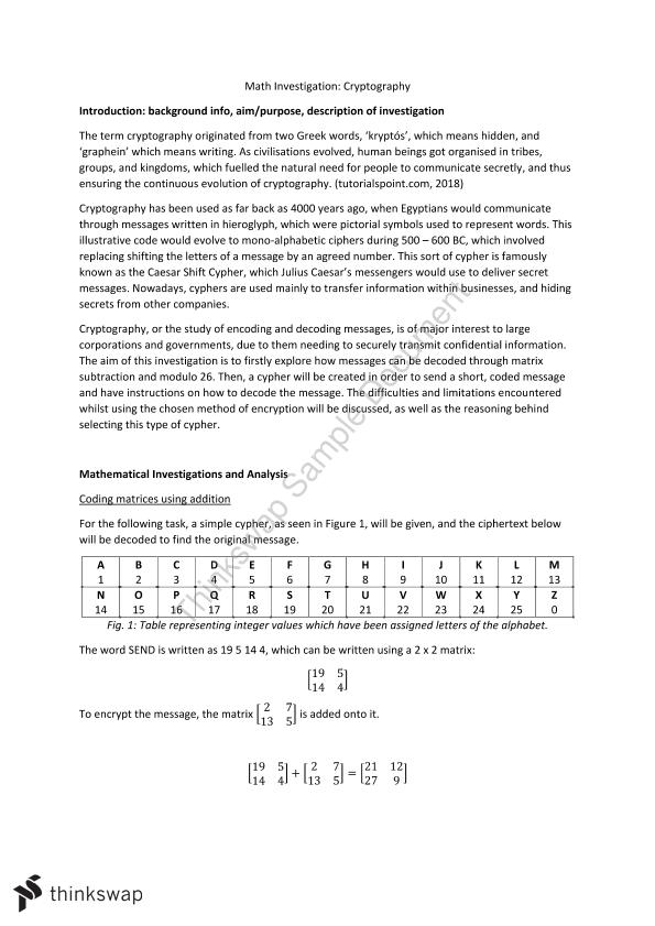 Stage 1 Specialist Math: Cryptography Investigation Matrices