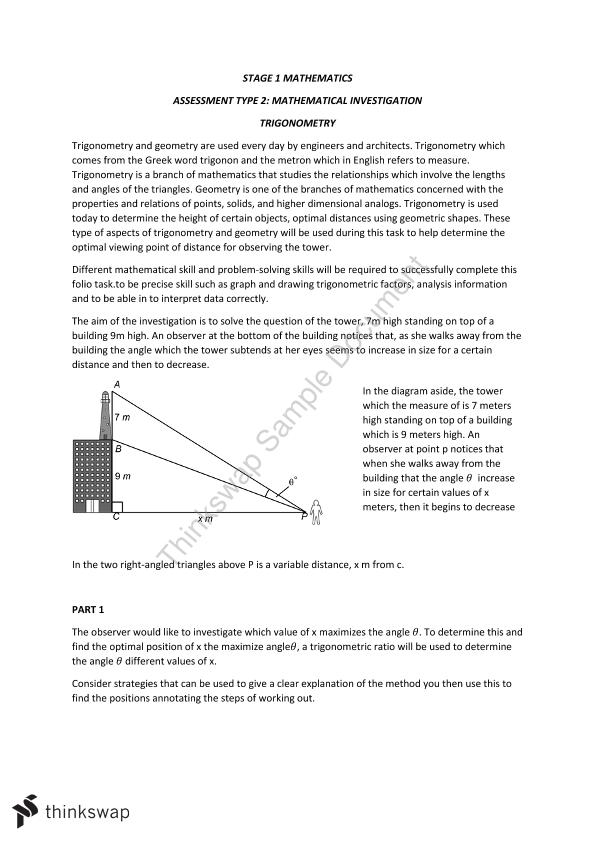 Stage 1 Mathematical Investigation Trigonometry and Geometry