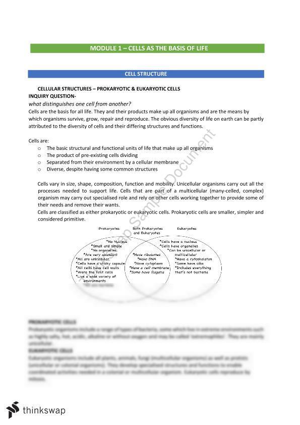Biology 2019 HSC Module 1 | Year 11 HSC - Biology | Thinkswap