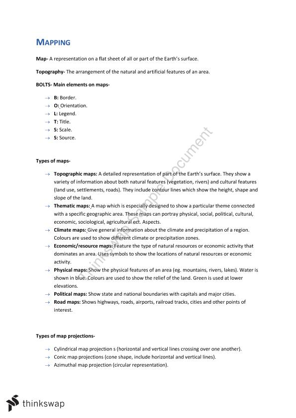 Geography ATAR Mapping Notes | Year 12 WACE - Geography