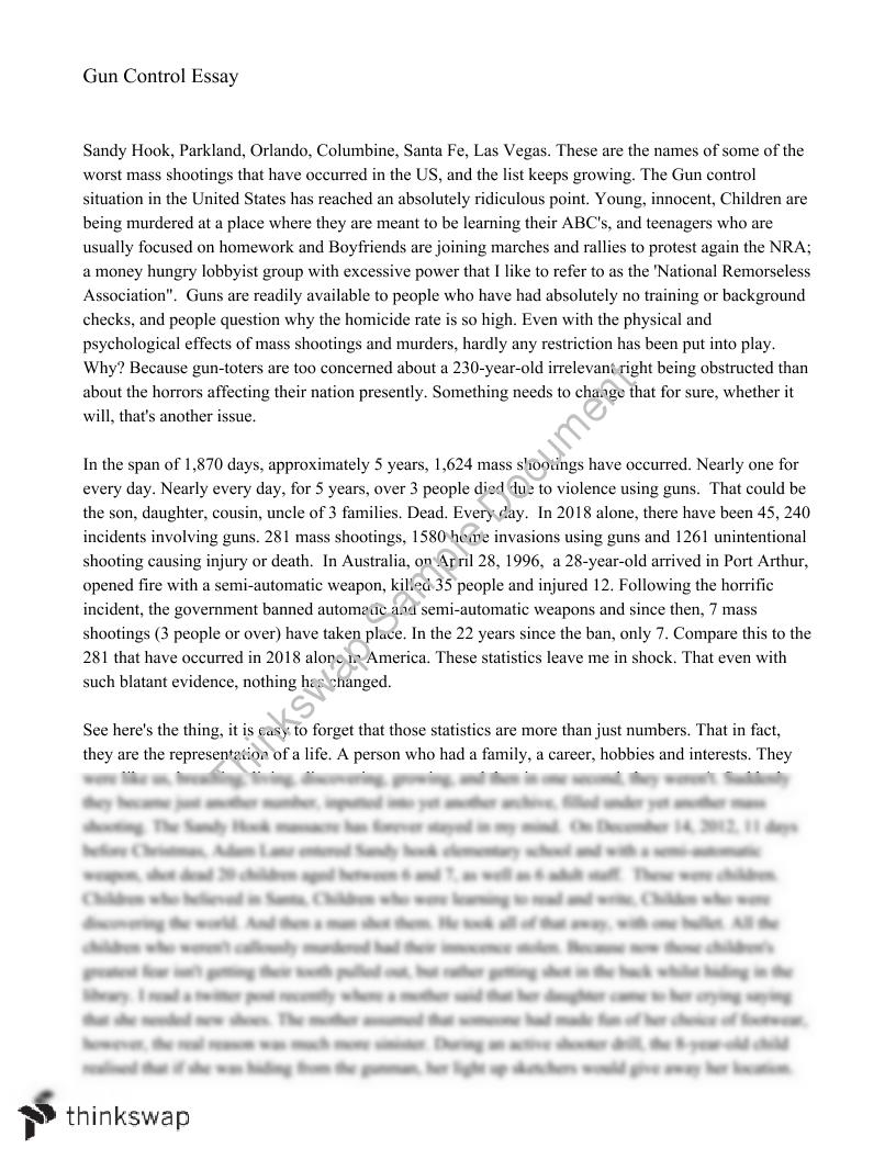 Gun control persuasive essay year 11 wace english thinkswap