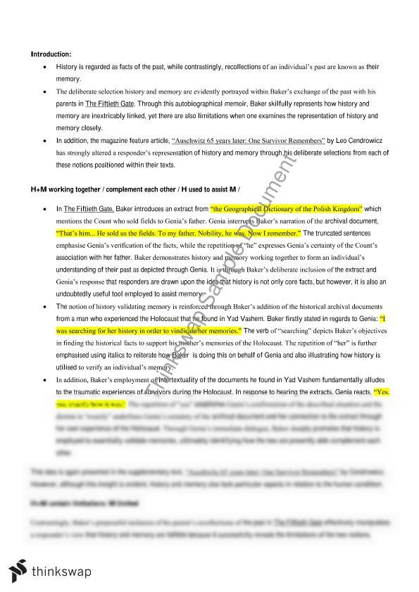 the fiftieth gate complete study notes for the history and memory  the fiftieth gate complete study notes for the history and memory topic for english advanced hsc