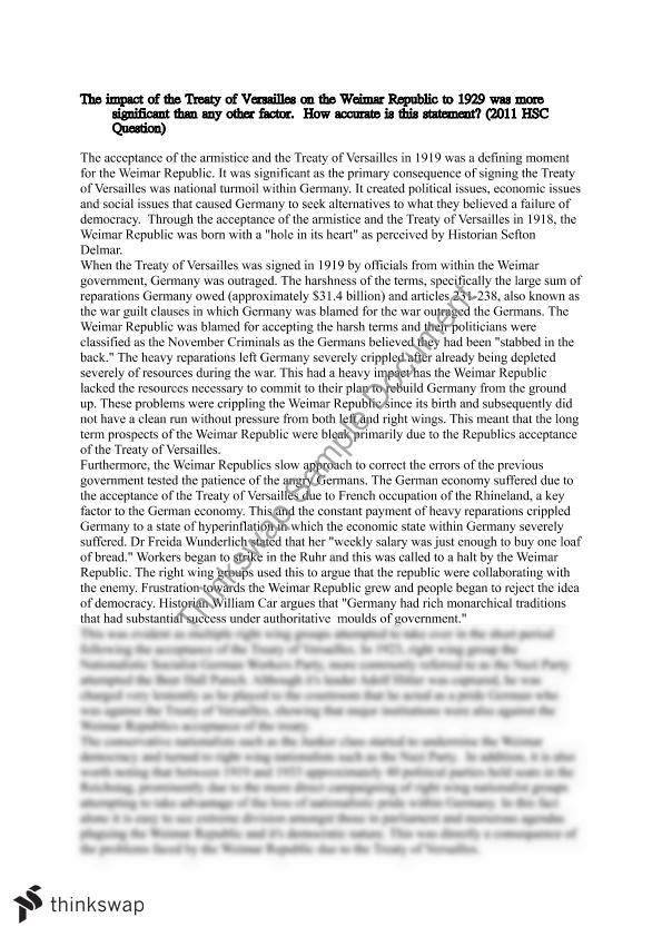 treaty of versailles on the weimar republic essay modern history  treaty of versailles on the weimar republic essay modern history