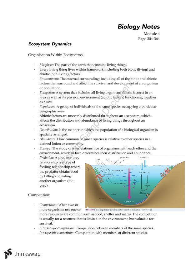 Ecosystem Dynamics - Biology Module 4 Unit Notes | Year 11