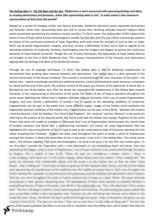 comparative essay on the hollow men and the old man and the sea  comparative essay on the hollow men and the old man and the sea