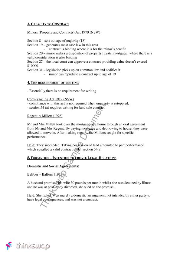 Contract Law Notes Capacity And Formation Of Contract Law204