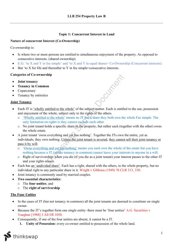 LLB254 Complete Prop B Lecture Notes