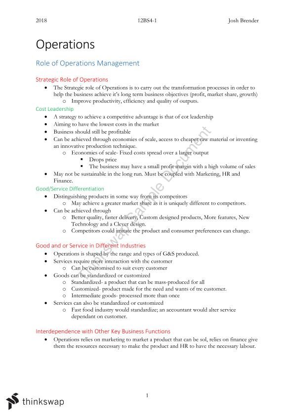 Business Studies - Operations Notes