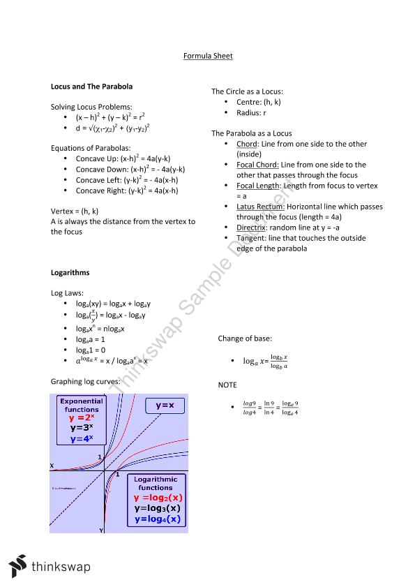 Formula / Summary Sheet for Mathematics Adv