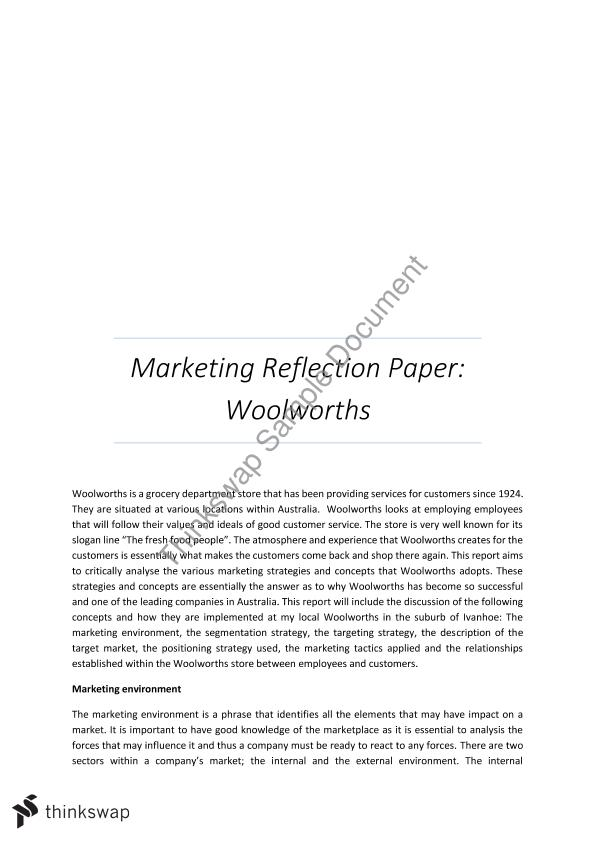 Principles Of Marketing Reflective Essay Thesis - image 3