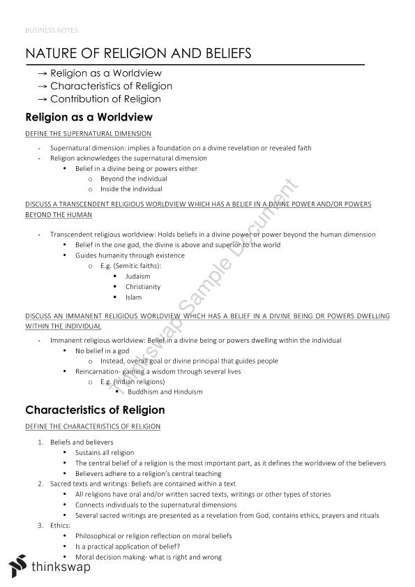 Year 11 Preliminary Complete Notes Studies of Religion II