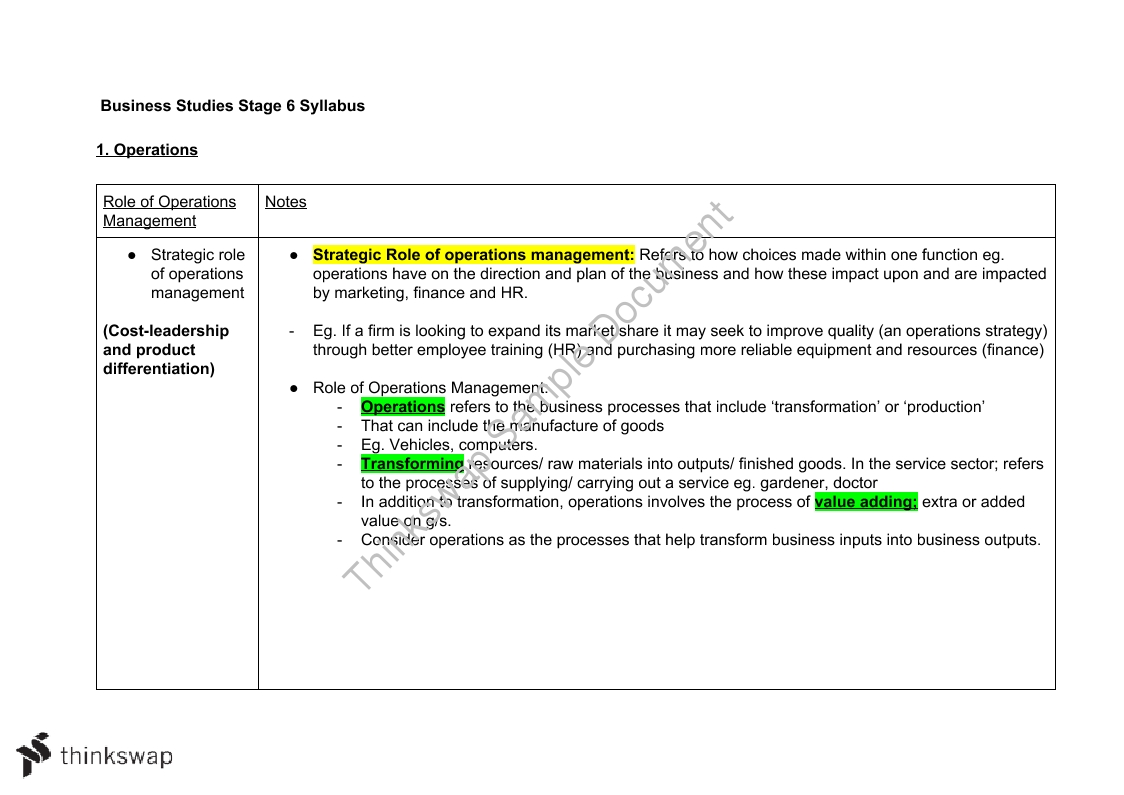 Year 12 Business Studies Operations Complete Notes
