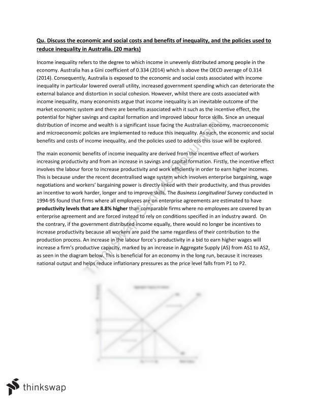 Income inequality essay year 12 hsc economics thinkswap