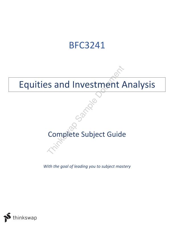 Equities and Investment Analysis Guide | BFC3241 - Equities