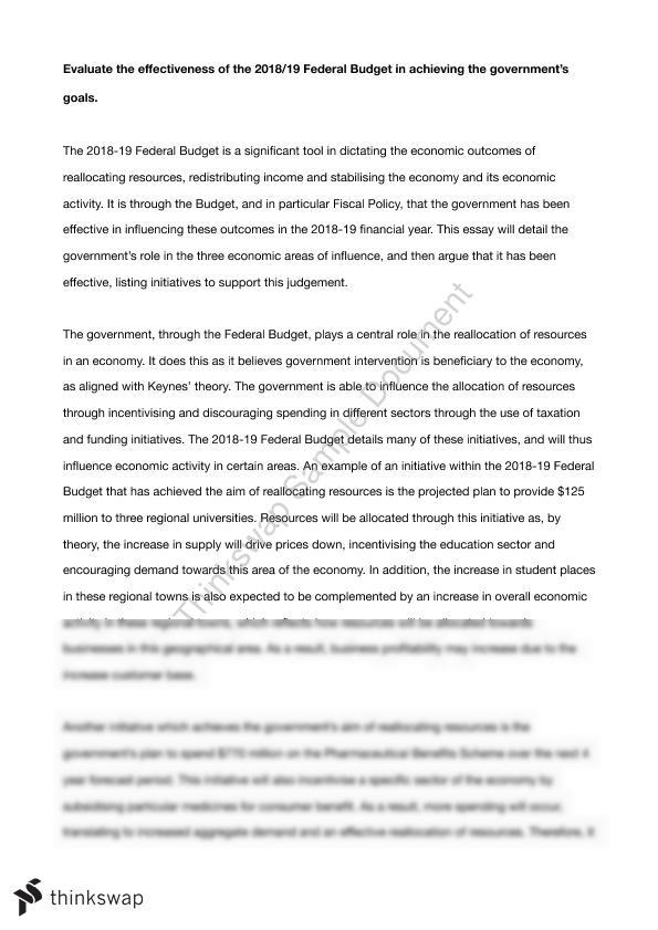 federal budget analysis essay
