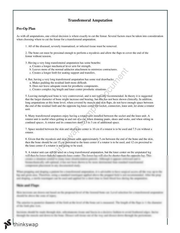 Transfermoral Amputation AKA   PHS 201 - Musculoskeletal