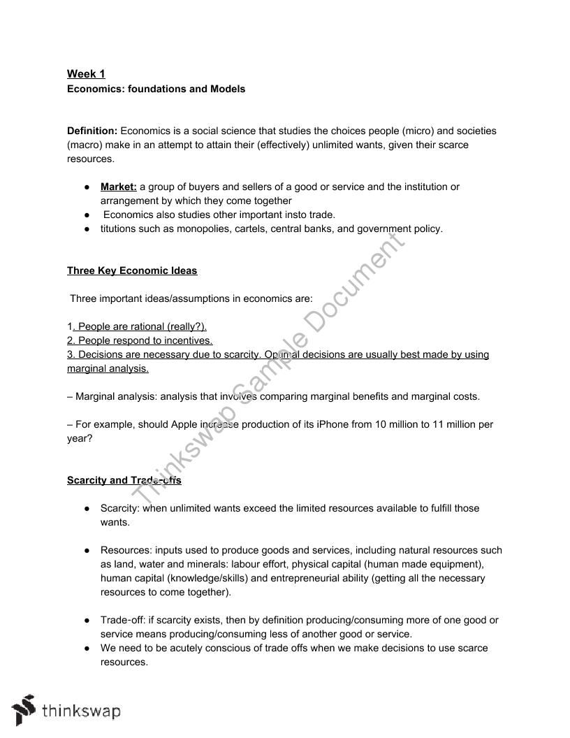 Full Study Notes (ECON100) | ECON101 - Macroeconomic