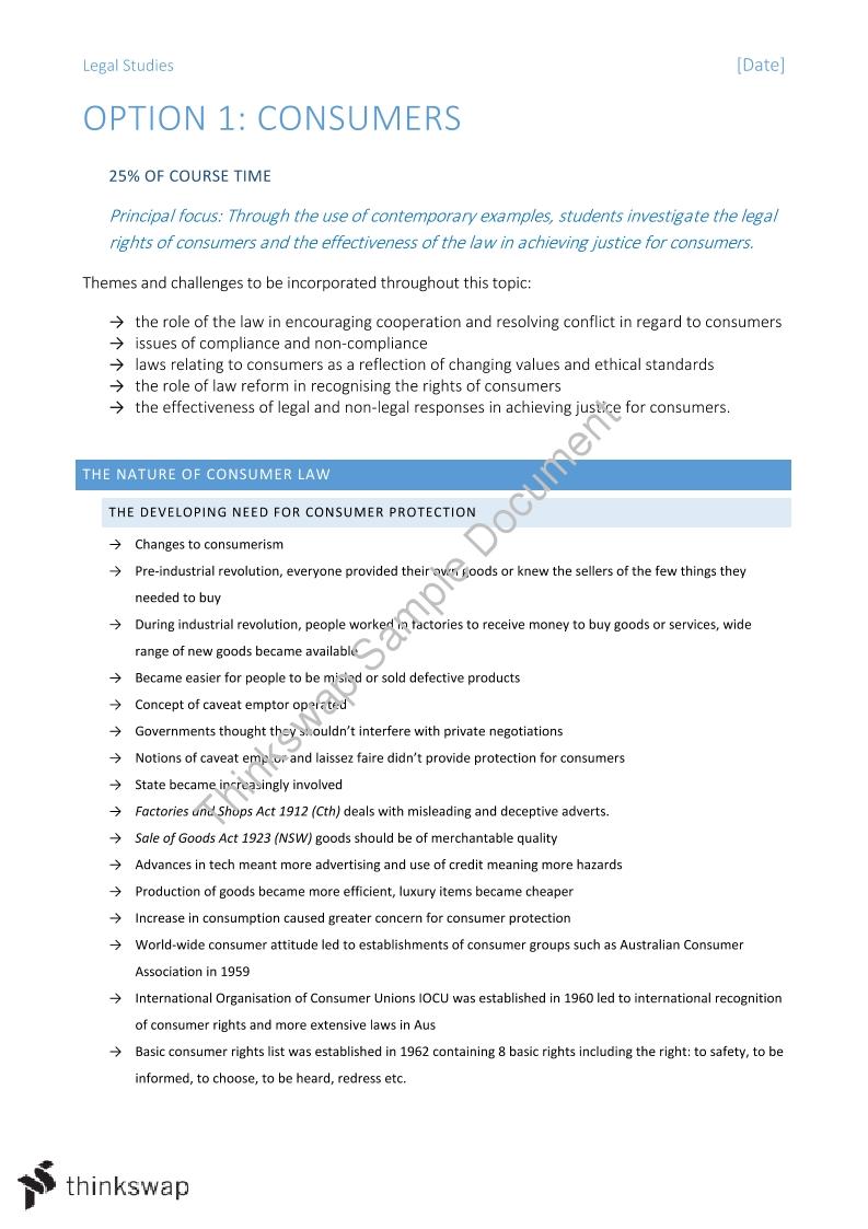 Consumer Notes   Year 12 HSC - Legal Studies   Thinkswap