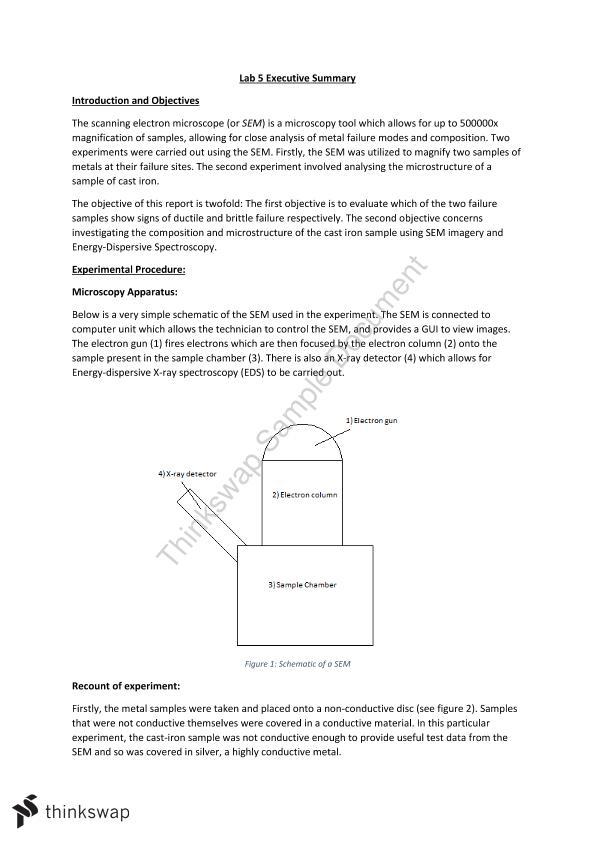 SEM Lab Report CIVL2110   CIVL2110 - Materials   Thinkswap