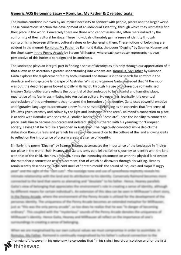 AOS Belonging Essay Romulus + 2 Related Texts | Year 12 HSC ...