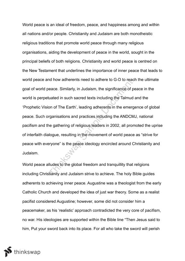 essay on peace the need of hour