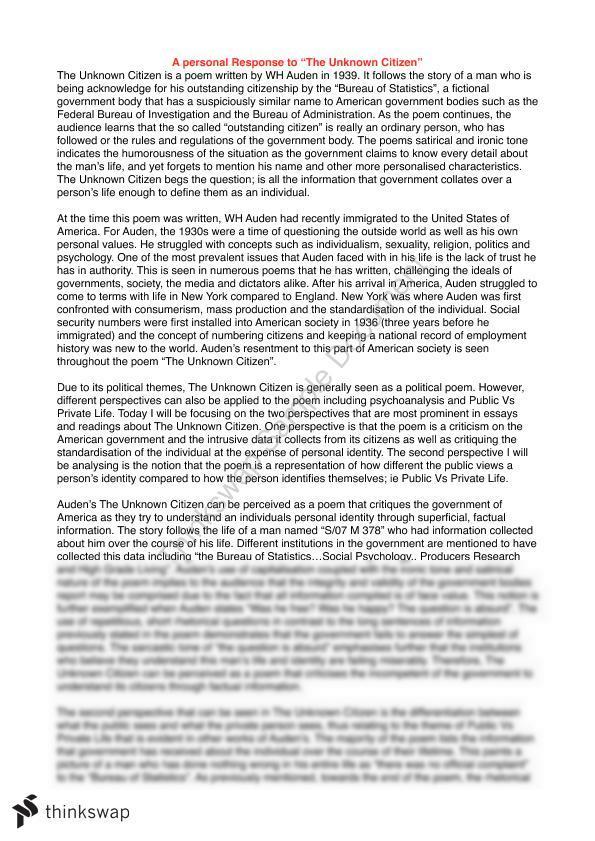 the unknown citizen essay  year  hsc   english advanced