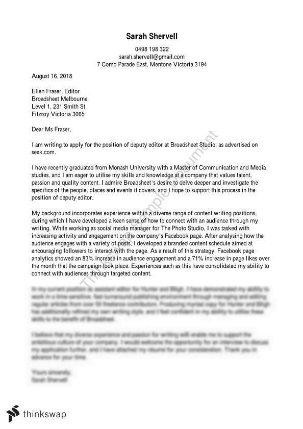 ATS1298 Cover Letter and CV/ Assignment 1 | ATS1298 - Professional ...