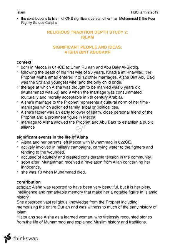 Studies of Religion: Islam   Year 12 HSC - Studies of