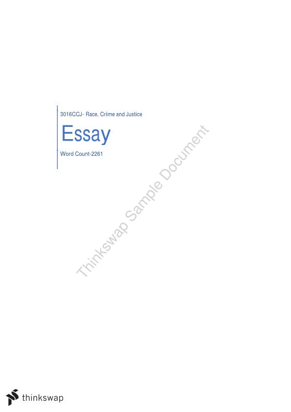 Essay for Race, Crime and Justice
