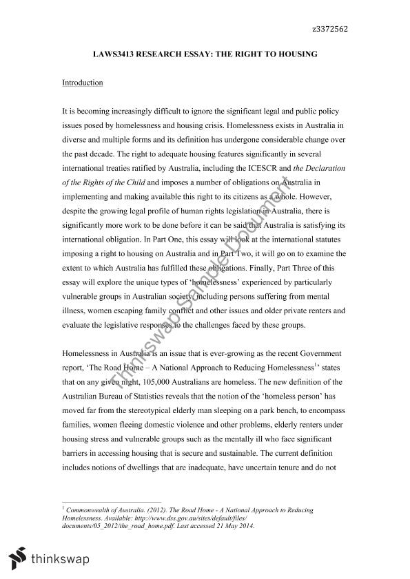essay about homelessness in australia On any given night in australia it is estimated that over 100000 people are  homeless and living without essential human rights (mhca, 2009.