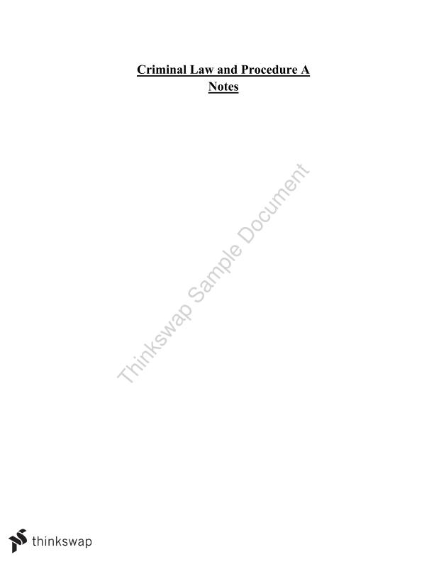 Criminal Law A - Study Notes