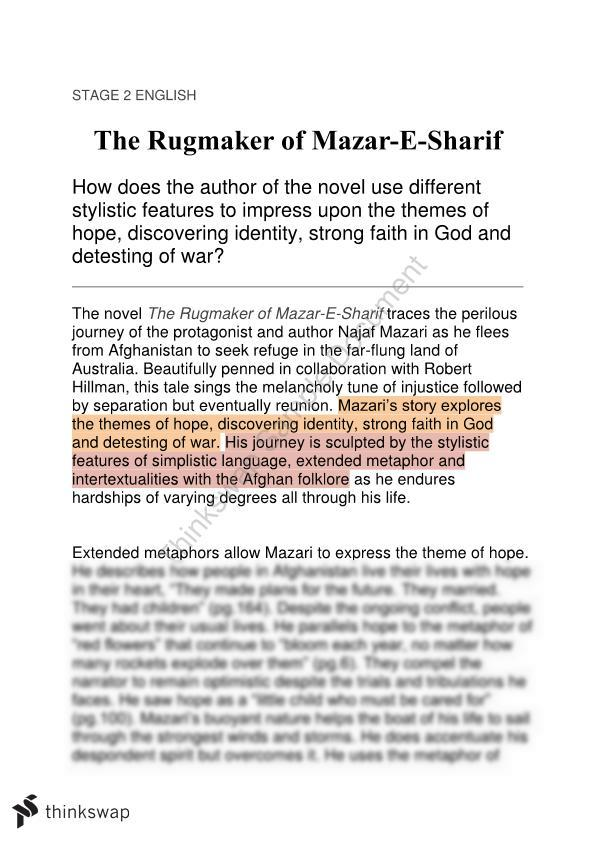 the rugmaker of mazar e sharif sparknotes