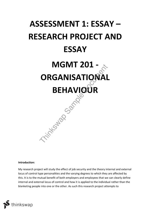 RESEARCH PROJECT AND ESSAY