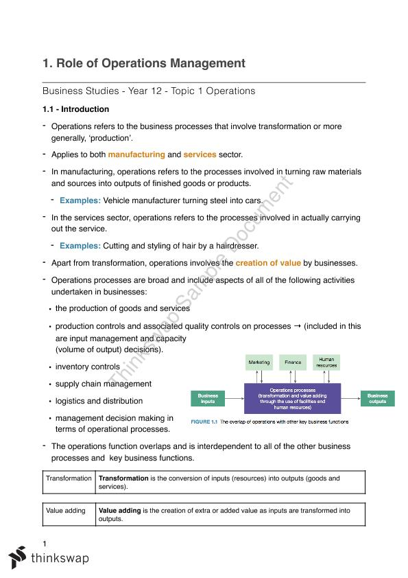 Role of Operations Management | Year 12 HSC - Business