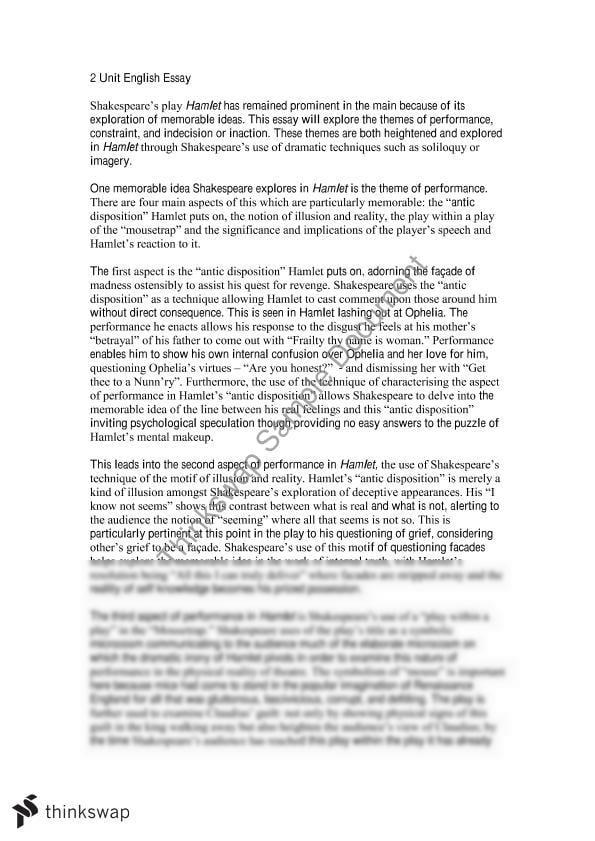 shakespeare hamlet essay year hsc english advanced shakespeare hamlet essay