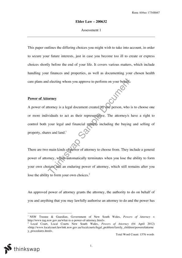 Elder Law Assignment 200632 Elder Law Thinkswap