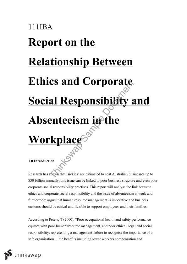 English Composition Essay Ethics And Csr In The Workplace Pertaining To Absenseeismsickies Sample Persuasive Essay High School also English Essay Friendship Ethics And Csr In The Workplace Pertaining To Absenseeismsickies  An Essay On English Language