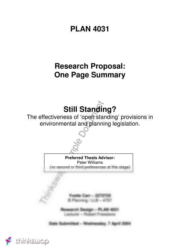 one page dissertation summary