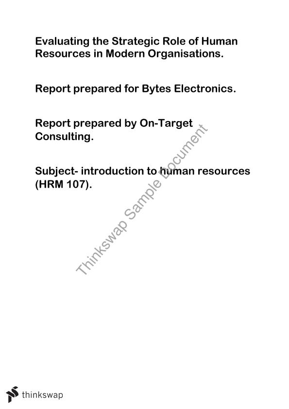 HRM 107 report assignment