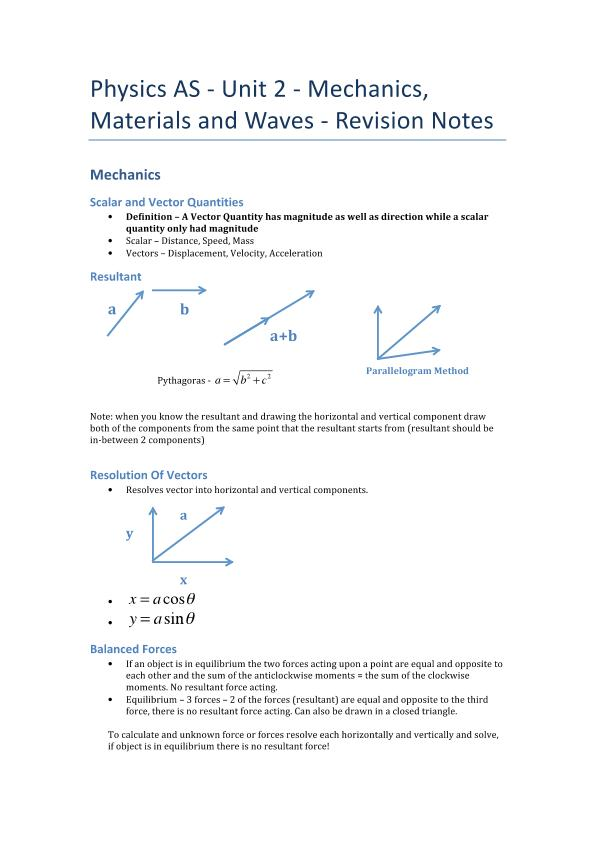Mechanics, Materials	and	Waves- Revision Notes