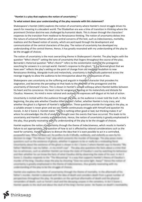 Uncertainty in hamlet essay about revenge