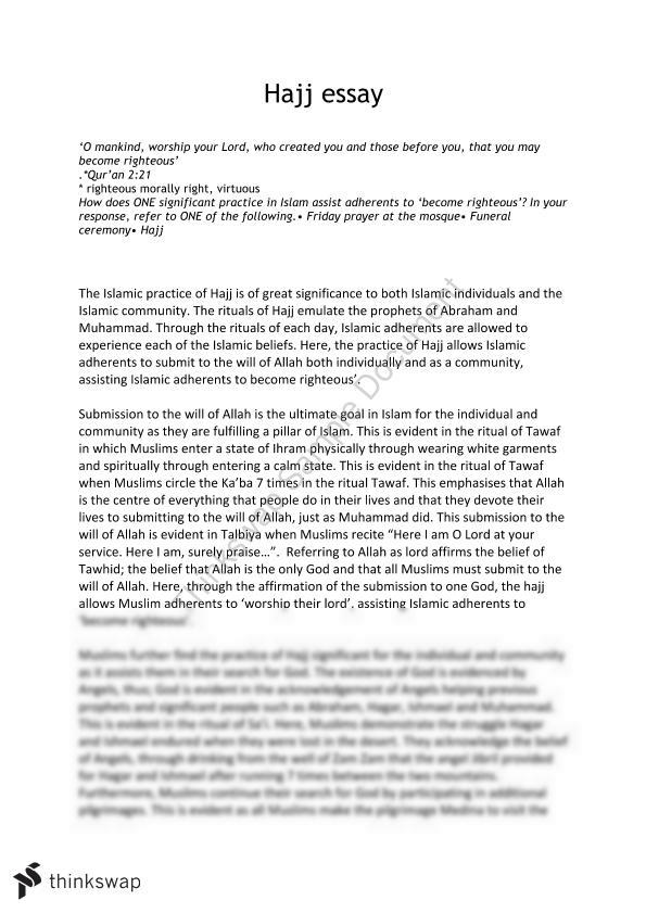 Studies Of Religion 1 Hajj Essay Studies Of Religion I Year 12 Hsc Thinkswap
