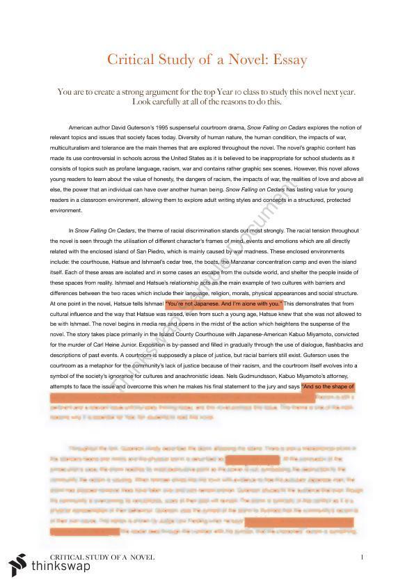 Snow Falling On Cedar Critical Study Essay English Advanced Year 11 Hsc Thinkswap Argumentative Cedars